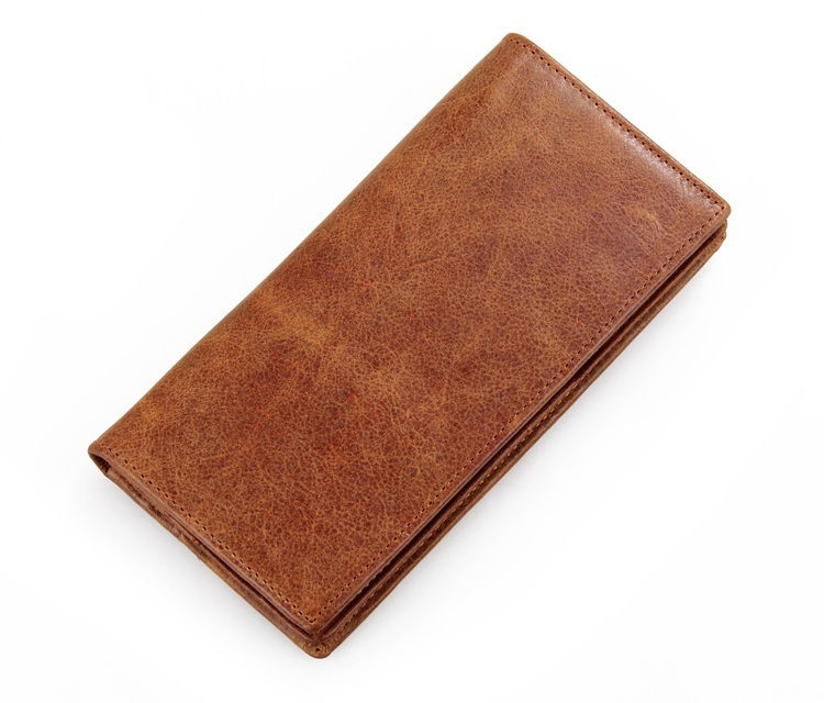 Nesitu High Quality Long Size Vintage Brown Color Real Genuine Leather Women Men Wallets Cowhide Card
