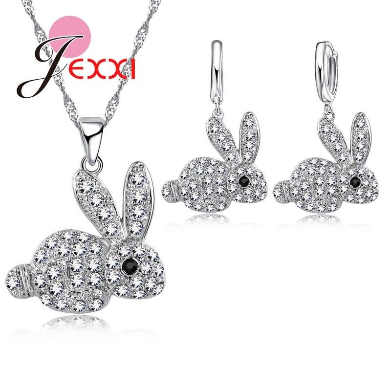Clever Nette Cartoon 925 Sterling Silber Voller Zirkonia Stein Anhänger Kaninchen Halskette + Ohrringe Frauen Braut Schmuck Sets