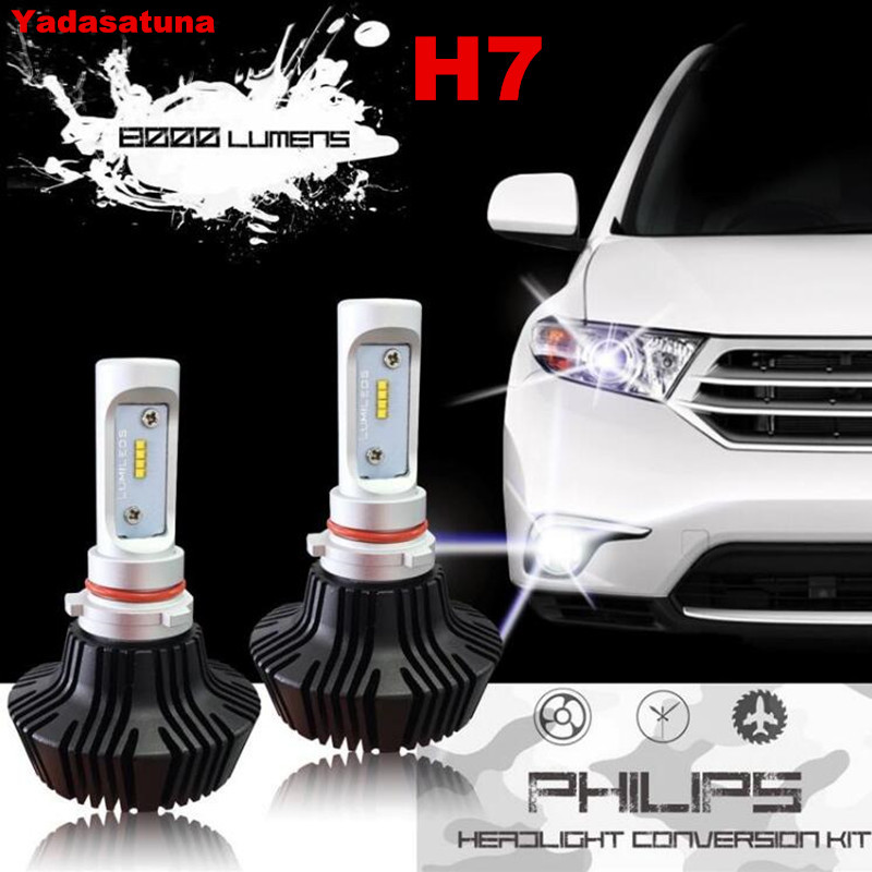 Pair!Long Life!H7 Hi/Lo-Super Bright LED Dipped Headlight Bulbs Conversion Kit, Fanless All-In-One ,80W 8000LM 6500K Cool White