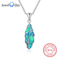 Leaf Shape Blue Opal Stone Pendant Necklaces For Women Genuine 925 Sterling Silver Jewelry Gift For
