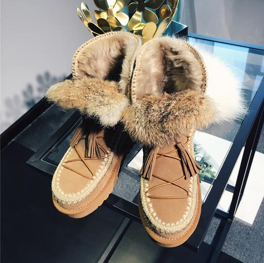 Hot Selling Real Fur Lace Up Snow Boots Women Tassel Ankle Booties Suede Leather Winter Warm Shoes Ladies Brown Boots