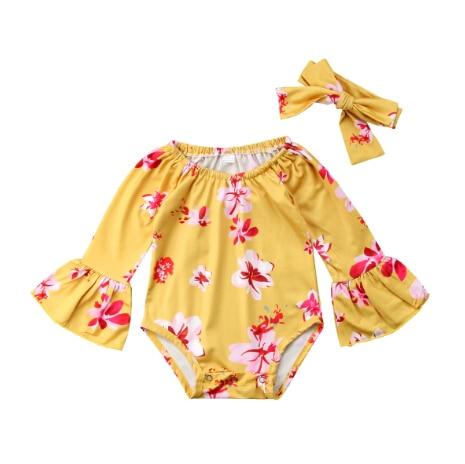 1 шт. милый Одежда для новорожденных девочек цветочные длинным рукавом боди комбинезон 0-24 м