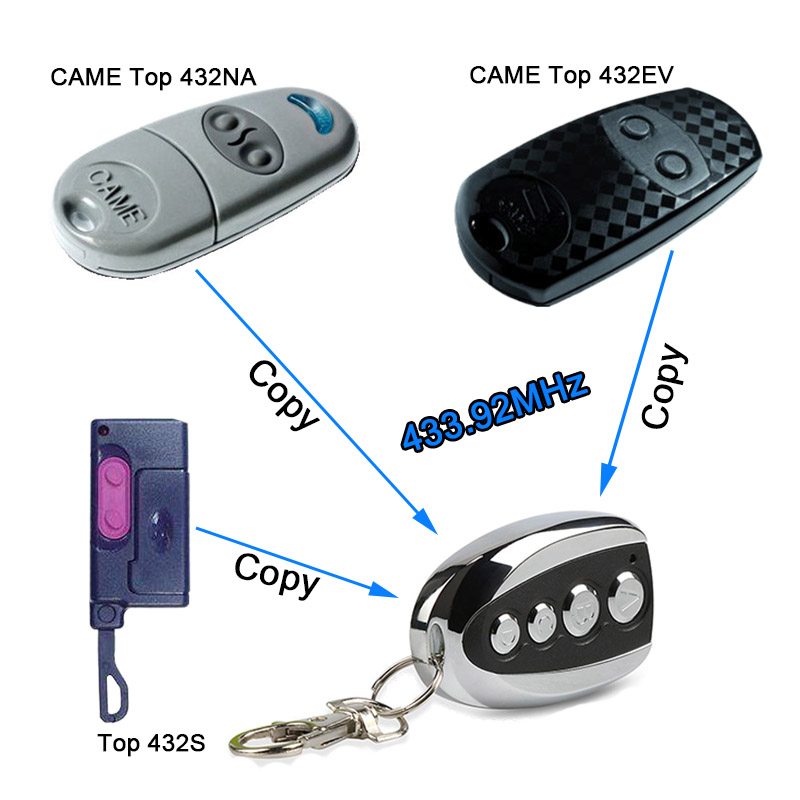 433.92 Mhz RF Universal Duplicator Copy CAME Remote Control Switch TOP 432EV TOP-432NA TOP432NA Battery Garage Door Gate Key Fob 433mhz universal copy came top432na duplicator cloning 433 92mhz wireless remote control garage door gate fob remote transmitter