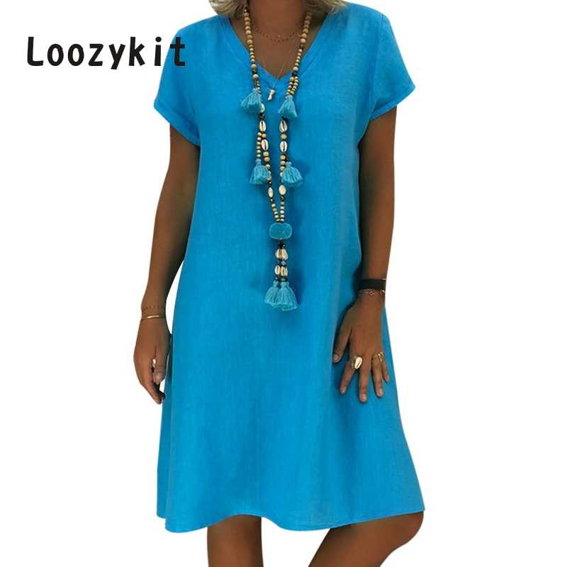LOOZYKIT 2019 Women Summer Short Sleeve Solid Color Dress Fashion Sexy V Neck Beach Dress Female Casual Long T-Shirt Vestidos