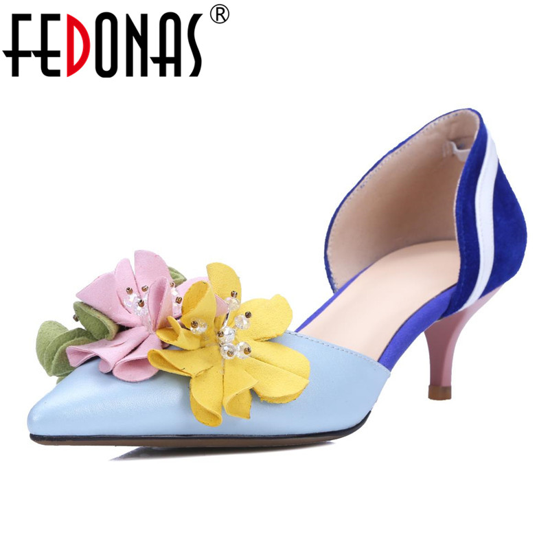 FEDONAS Elegant Women Pumps High Heels Flowers Wedding Party Shoes Woman Pumps Brand Design Pointed Toe Genuine Leather Shoes fedonas top quality women bowtie pumps genuine leather ladies shoes woman sexy high heels party wedding shoes pointed toe pumps