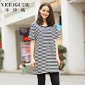 Veri Gude Women's Long Tee Shirts for Women Striped Tops for Summer Free Size