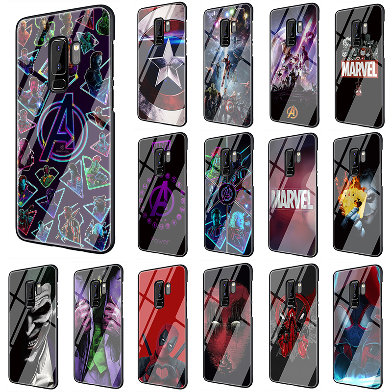 <font><b>Marvel</b></font> The Avengers Jorker Dead Pool Tempered Glass phone <font><b>case</b></font> for <font><b>Samsung</b></font> <font><b>S7</b></font> <font><b>Edge</b></font> S8 S9 S10 Note 8 9 10 Plus A10 20 30 40 50 60 70 image