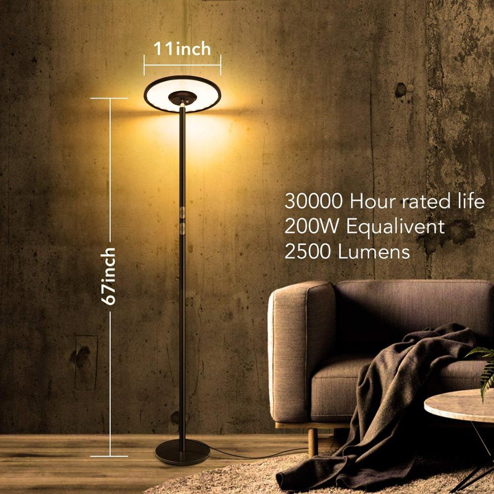 19W Dorm AntLux Dimmable LED Torchiere Floor Lamp 19° Adjustable