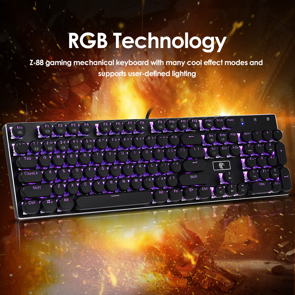 RGB Gaming Mechanical Keyboard USB Wired Round Keycap 10 Backlights Keyboard Dust-proof Blue Switches 104 keys Anti-ghosting