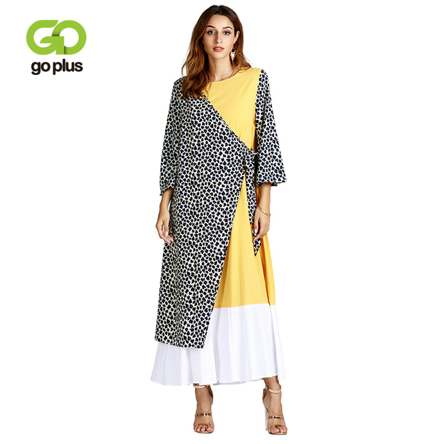 GOPLUS Muslim Leopard Patchwork Maxi Dress Sashes Flare Sleeve Long Gowns Loose Jubah Lady Middle East Islamic Clothing Female