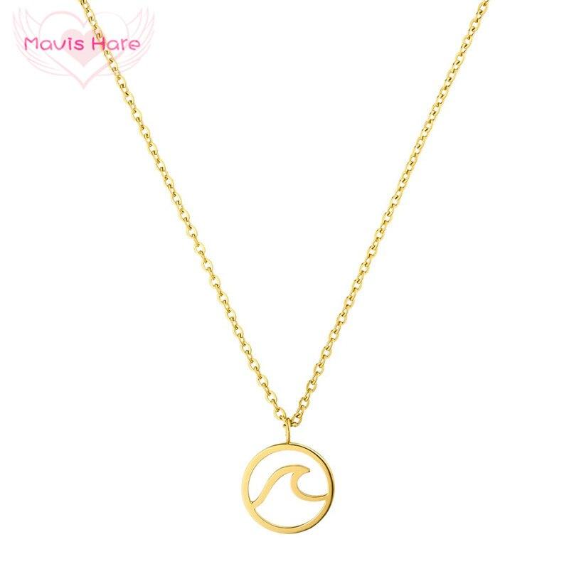 Mavis Hare Neueste Edelstahl 20mm Welle Halskette Welle Anhänger Kette Halskette mit 42 cm + 5 cm Link kette für Frauen 1 stücke