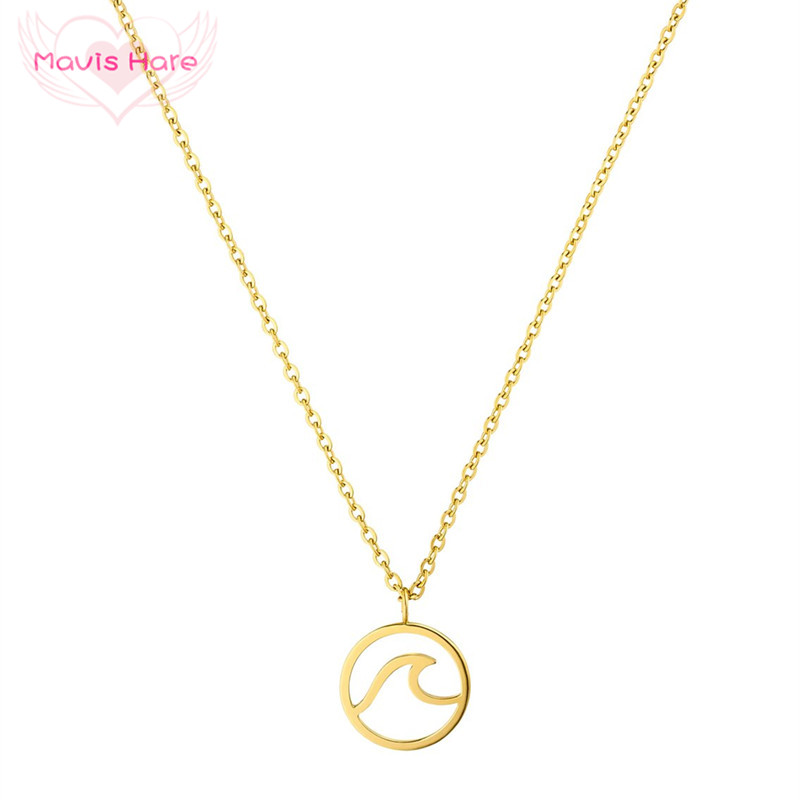 Mavis Hare Newest Stainless Steel 20mm Wave Necklace Wave Pendant Chain Necklace with 45cm+5cm Link chain for Women 1pcs