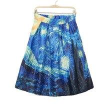 Vintage Van Gogh Starry Sky Oil Painting 3D Print High Waist Skirt