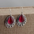 Red corundum wholesale S925 silver inlaid antique style personality female Earrings Thailand original explosion