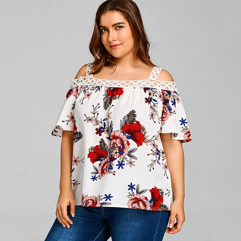 PlusMiss Plus Size 5XL Summer 2018 Sexy Cold Shoulder Floral Printed Loose Tops Women Clothes Big Size Beach Boho Blouse Ladies