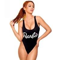 HYCOOL Barbie Print Een Stuk Badpak Monokini Vrouwen Badmode Sexy Wit Roze Zwart Badpakken Strand Vrouwelijke zwemkleding