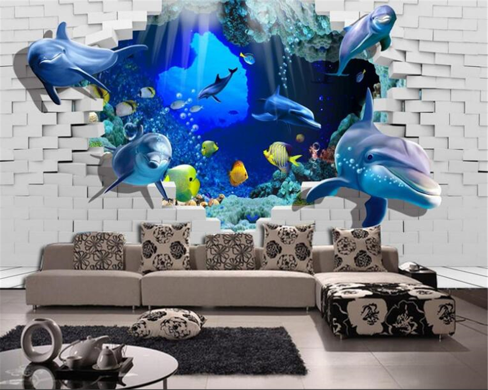 Beibehang definition creative painting 3d underwater world beibehang definition creative painting 3d underwater world background wall broken wall murals wallpaper papel de parede tapety in wallpapers from home amipublicfo Choice Image