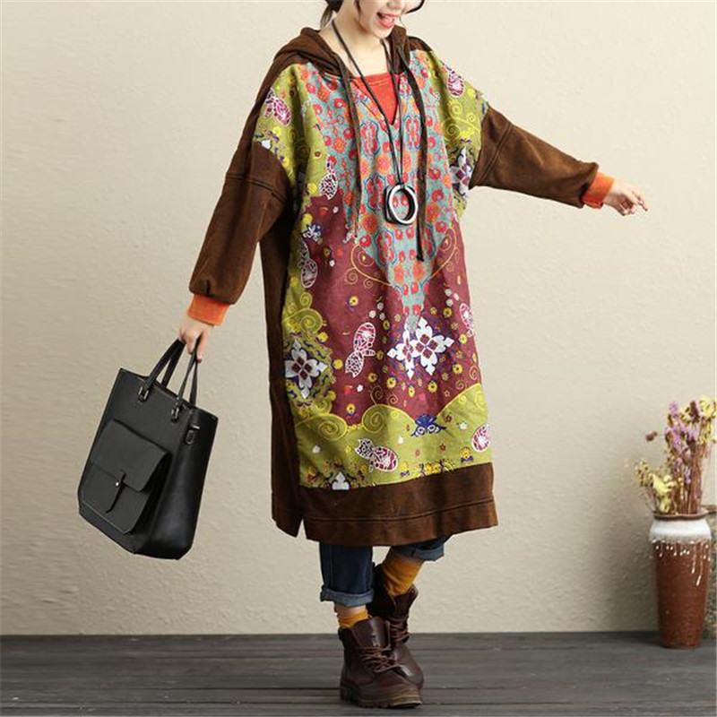 6969f1a4e12c BUYKUD Women Winter Hooded Printing Coffee Dresses Long Sleeve Casual Loose  Plus Size Hoodies Midi Thick Dress With Pockets-in Dresses from Women s  Clothing ...