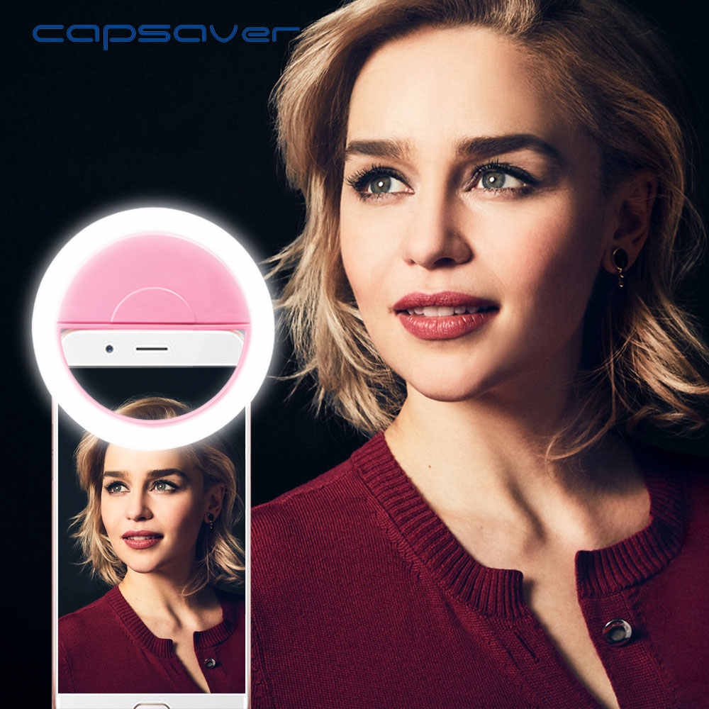 capsaver PF36 Portable Selfie Ring Lamp 36 leds USB Rechargeable Selfie Light Phone Ring Light for iPhone Android Smartphone