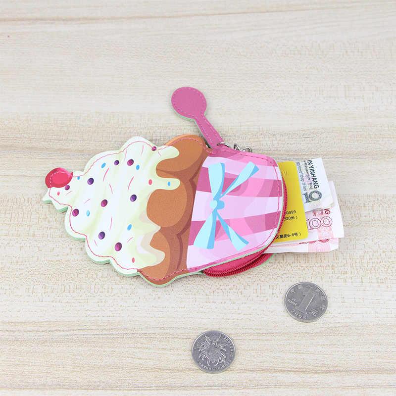 Katuner Sorvete Criativa Em Forma de Moeda Bolsa Saco de Dinheiro Cartão de Chave de Couro Das Mulheres Meninas Mini Crianças Crianças Da Moeda Da Carteira Bolsa KB081