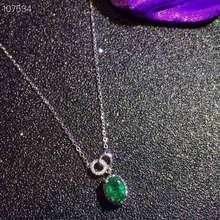 [MeiBaPJ] высокое качество натуральный изумруд простое ожерелье с подвеской с сертификатом 925 Чистое серебро хорошее свадебное ювелирное изделие для женщин