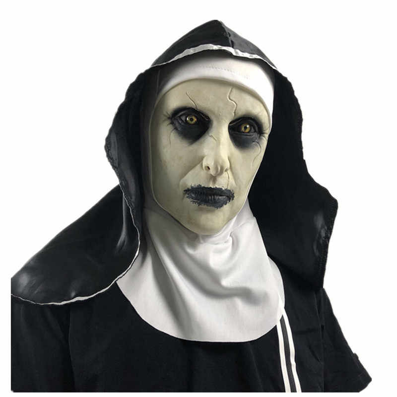 The Nun Latex Mask With Headscarf Crucifix Terror Face Masks Scary Cosplay Thriller Antifaz Para Fiesta Horror Mascara Cross