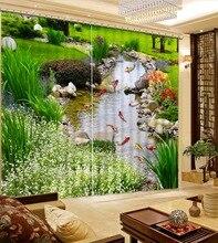Плотными шторами для спальни Ручей рыба пейзаж роскошные шторы для гостиной стеклянные бусины шторы
