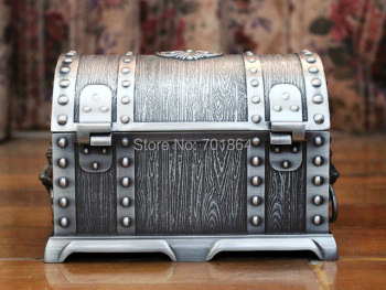 Big Size Pirates of the Caribbean Treasure Chest with Lock 2 Layers Vintage Jewelry Box
