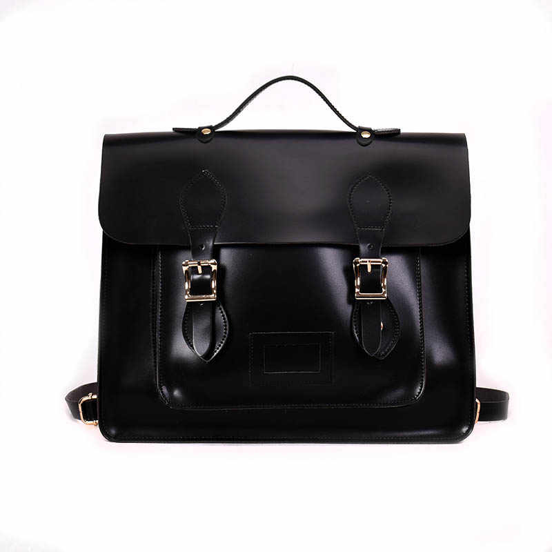 Women Pu Leather Handbag 2018 England Style Men Retro School Satchel Bag For College Girl Vintage Leather Briefcase Shoulder Bag