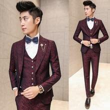 Prom Men Suit With Pants Burgundy Floral Jacquard Wedding Suits for Men 3 pieces / Set (Jacket+Vest+Pants) Korean Slim Fit Dress