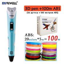 Myriwell 3D Ручка 2nd поколения rp100b добавить 100 м 20 видов цветов ABS ЖК-дисплей экран 3D печать Ручка ЕС адаптер Ceative 3D Рисунок пером