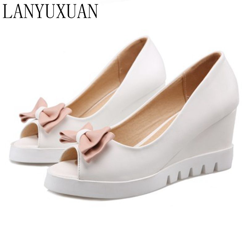 LANYUXUAN 2017 New Sapato Feminino Gladiator Sandals Women Big Size 34- 43 sandals Ladies Lady Shoes Wedges Women Pumps Fd-2