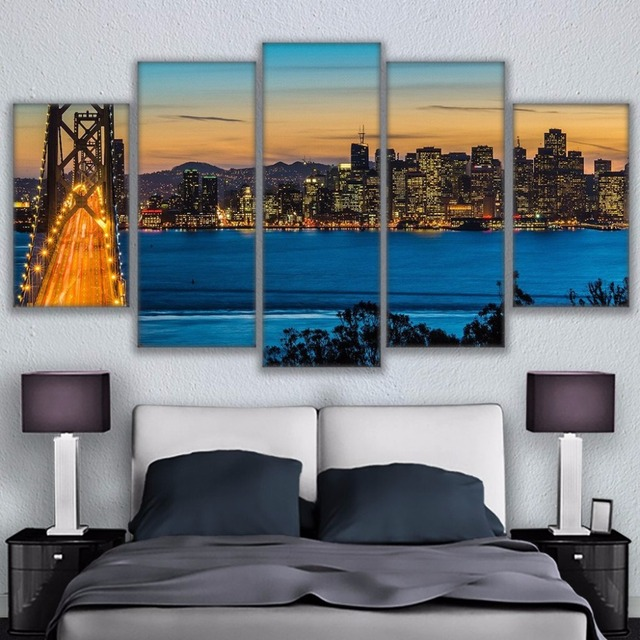 Wall Modular Picture Home Decoration Canvas Art 5 Panel San Francisco Bay  Bridges Living Room Printed