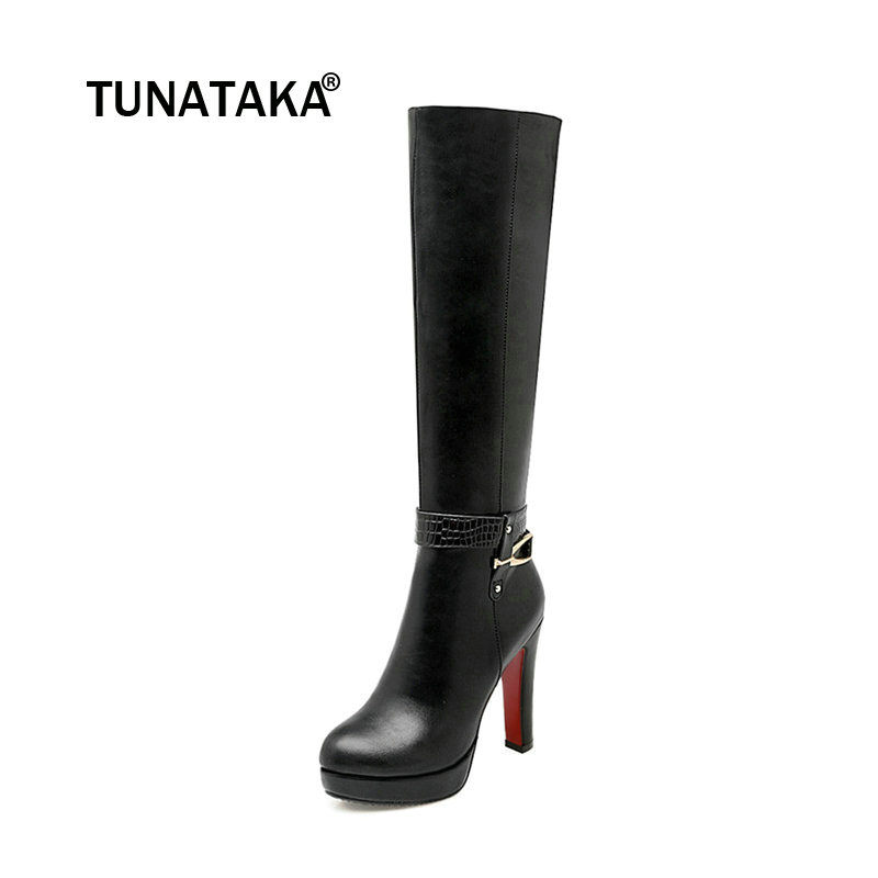 Women's Zip Platform Square High Heel Knee High Boots Fashion Winter Round Toe Shoes Woman White Black Apricot women platform square high heel ankle boots fashion side zipper round toe shoes woman black white beige
