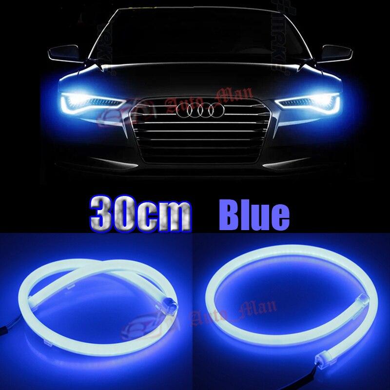2x 30cm blue drl daytime running light flexible tube style. Black Bedroom Furniture Sets. Home Design Ideas