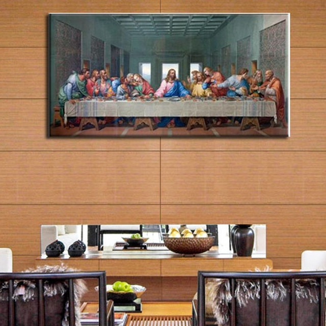 Leonardo Da Vinci Last Supper Wall Art Canvas Painting Print Picture For Living Room Bed
