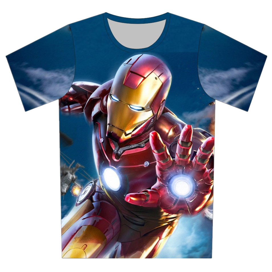 T-Shirt Children Avengers Superhero Iron-Man Girls Boys Kids Summer 3D 4-Printed 4-20-Years-Old