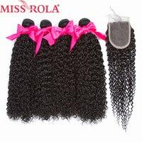 Miss Rola волосы предварительно цветные монгольские кудрявые вьющиеся 4 Связки с 4*4 закрытия 100% натуральные волосы расширение натуральный черн