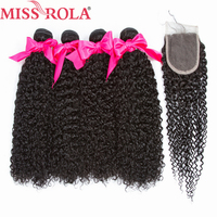 Miss Rola Hair Pre Colored Mongolian Kinky Curly 4 Bundles With 4*4 Closure 100% Human Hair Extension Natural Black Non Remy