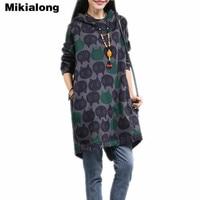 Mikialong Plus Size Oversized Hoodie Vrouwen 2017 Vintage Kat Gedrukt Lange Hoodies Vrouwen Winter Dikke Warme Hooded Sweater Jurk