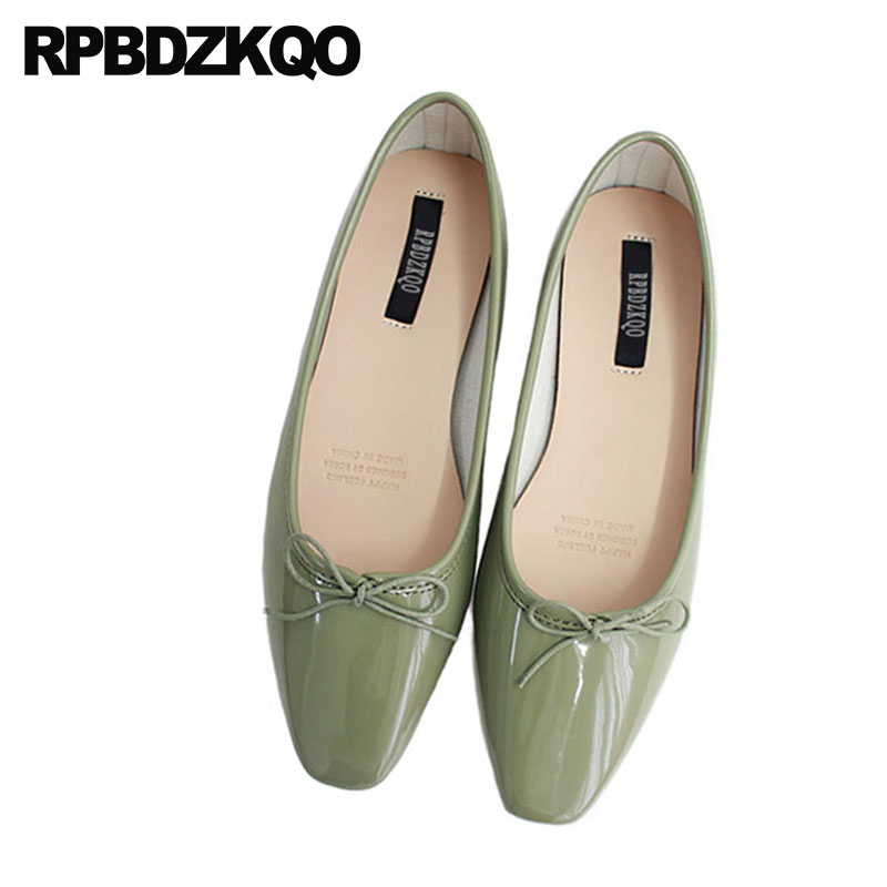 Square Toe Bow Cute Ballerina Green 2018 Designer Shoes Flats Candy Ladies Patent Leather Soft Ballet Women Japanese Bowtie women ballerina pointed toe ladies designer shoes china 2018 ballet ankle strap suede pink cute elastic flats japanese cross
