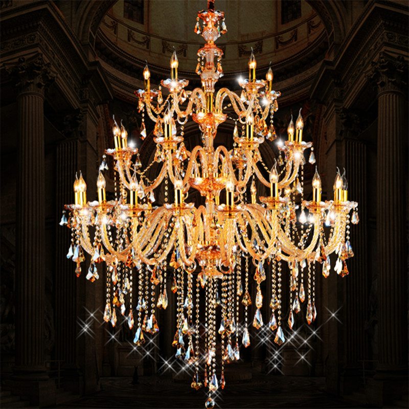 Duplex floor cognac & champagne crystal chandelier lamps unique hall Villa church garden chandelier 28-36 pcs led E14 luz light