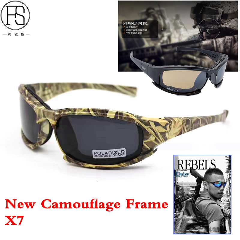 New Camouflage Army Goggles Sunglasses Men Military FS X7 Polarized Sunglasses Male 4 Lens For Men War Game Tactical Glasses