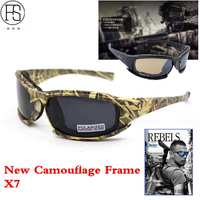 Nuevas Gafas de Sol de Los Hombres de Camuflaje Del Ejército Militar FS X7 Polarizadas gafas de Sol Masculinas 4 Juego de Guerra Táctico Gafas de Lentes Para Hombres