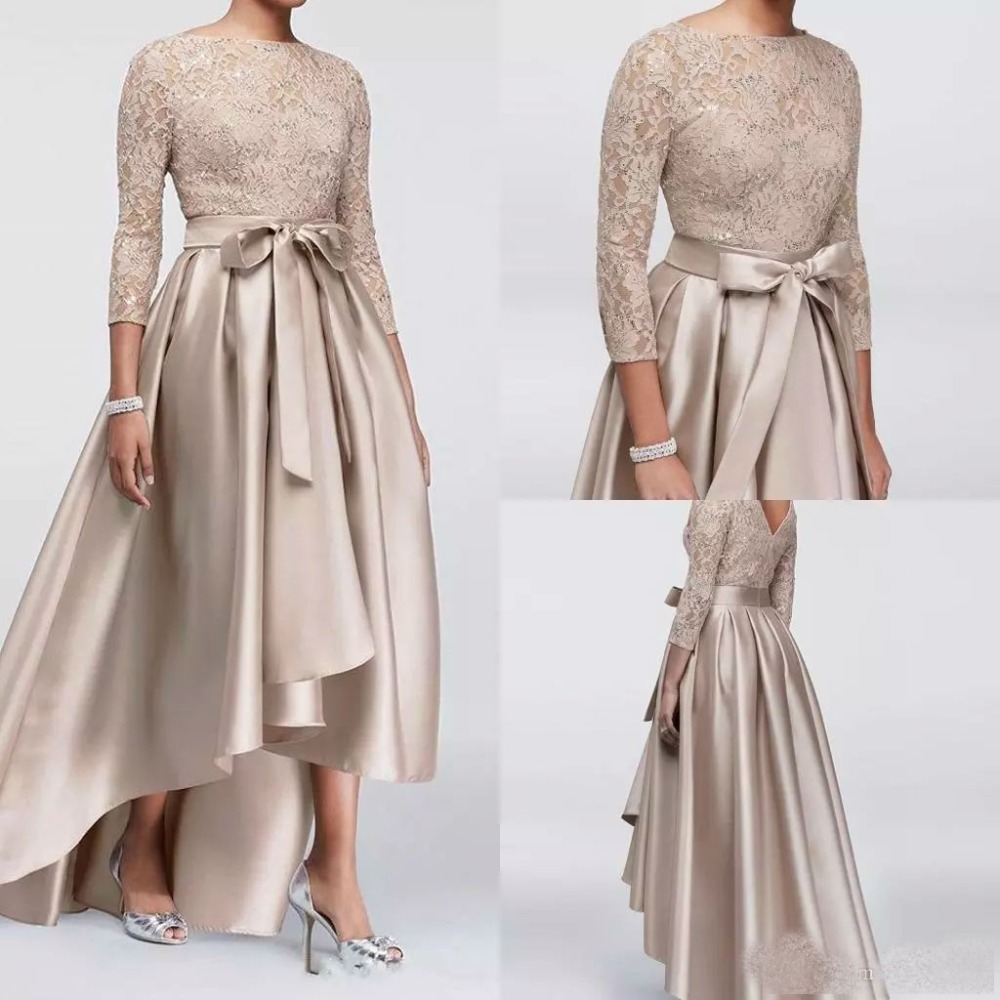 Champagne High Low Mother Of The Bride Dresses Sequined Lace Top 3/4 Long Sleeves Evening Gowns Cheap Wedding Guest Dress