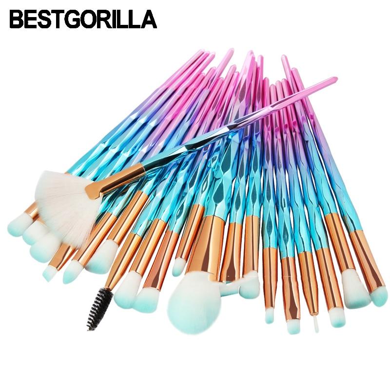 BESTGORILLA Professional 20pcs Diamond makeup brush  Beauty tools Sets Cylinder Gradient handle with eyebrow brush Free shipping
