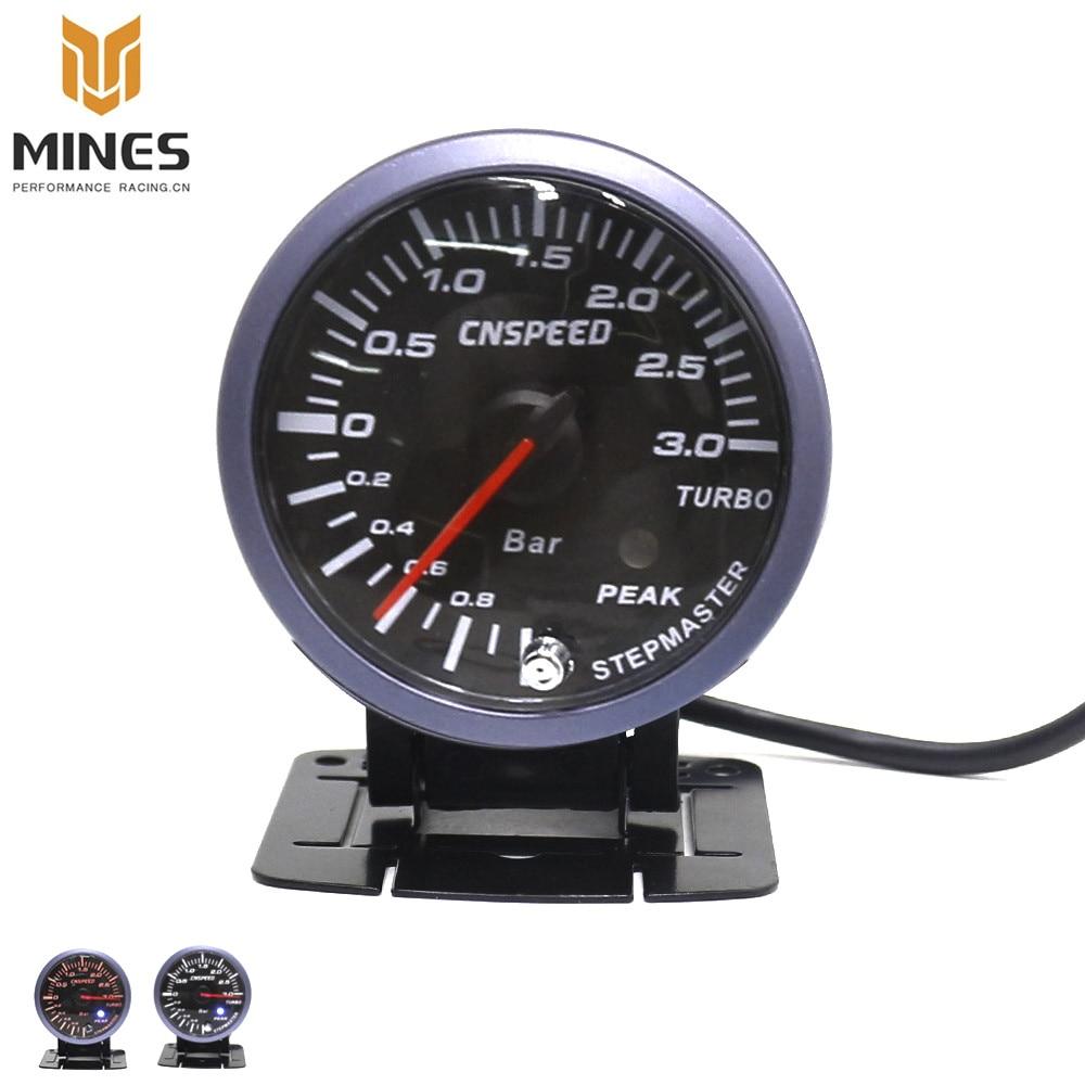 52mm 60mm Digital Dual Gauge Boost Turbo Meter White//Red Smoke LED PSI//BAR