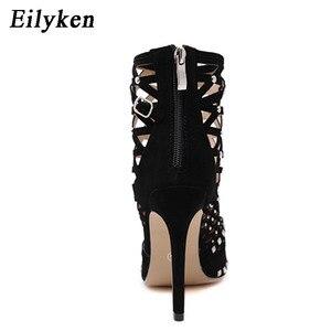 Image 4 - Eilyken/женские сандалии гладиаторы с острым носком, заклепками и вырезами, на шпильках, весна лето 2020