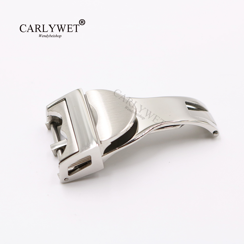 CARLYWET 18mm Silver 316L Stainless Steel Watch Band Buckle Deployment Clasp For Less 2.5mm Rubber Leather Strap Belt купить недорого в Москве