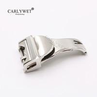 Carlywet 18ミリメートルシルバー316lステンレス鋼腕時計バンドバックル展開クラスプ用少ない2.5ミリメートルゴム革ストラップベル